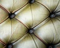 Struttura vecchio del sofà trapuntato cuoio verde Fotografia Stock