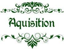 Struttura verde con il testo di ACQUISIZIONE Fotografia Stock