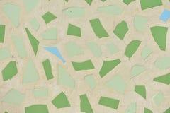 Struttura verde, marrone e blu delle mattonelle Fondo delle mattonelle con luce solare fotografia stock libera da diritti