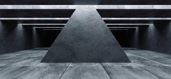 Struttura vuota di Hall Tunnel Corridor Spaceship Rough del garage dello spazio scuro del triangolo di lerciume concreto futurist illustrazione di stock