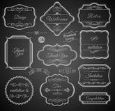 Strutture calligrafiche d'annata con gli elementi di progettazione Immagine Stock