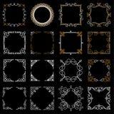 Strutture d'annata decorative stabilite nella mono linea stile Illustrazione astratta di vettore per la vostri progettazione e lo Immagini Stock Libere da Diritti