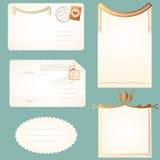 Strutture d'annata degli ambiti di provenienza delle note delle carte delle cartoline illustrazione vettoriale