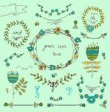 Strutture d'annata e floreale disegnato a mano Fotografie Stock