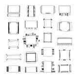 Strutture decorative di scarabocchio, insegne, nastri, confini, elementi differenti di progettazione Fotografie Stock
