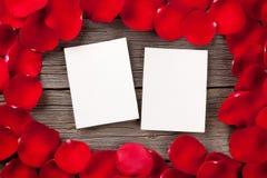 Strutture della foto dello spazio in bianco di giorno di biglietti di S. Valentino Immagini Stock