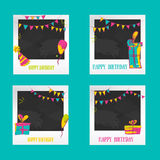 Strutture della foto di compleanno Modelli decorativi della struttura della foto per il bambino, gli eventi o le memorie Concetto Fotografie Stock