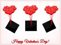Strutture della foto di giorno di biglietti di S. Valentino con i palloni Fotografie Stock Libere da Diritti
