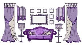 Strutture della viola di colore dello schermo del sofà Fotografie Stock Libere da Diritti