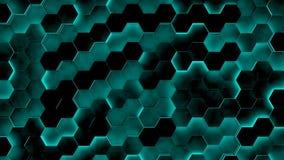 Strutture di esagono con luce blu 3d rendono illustrazione di stock