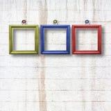 Strutture di legno multicolori per le immagini sulla parete di pietra Fotografia Stock