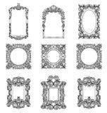 Strutture di Rich Imperial Baroque Rococo messe Ornamenti scolpiti lusso francese Stile squisito vittoriano di vettore decorato illustrazione di stock