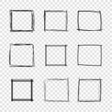 Strutture disegnate a mano del quadrato dello scarabocchio di vettore su fondo trasparente illustrazione di stock