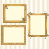Strutture dorate con gli ornamenti d'annata Immagini Stock Libere da Diritti