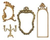 Strutture dorate d'annata con un ornamento isolato su fondo bianco Retro stile immagine stock