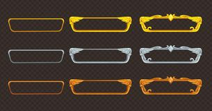 Strutture dorate, d'argento e bronzee messe Raccolta dei beni di vettore Fotografia Stock Libera da Diritti