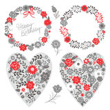 Strutture floreali ed elementi, grey e rosso grafici Immagine Stock