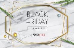 Strutture geometriche dell'oro di vendita di Black Friday, foglie dell'eucalyptus, fogliame sulla tavola di marmo, vista superior royalty illustrazione gratis