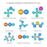Strutture molecolari delle sostanze chimiche comuni Immagine Stock Libera da Diritti