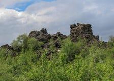 Strutture nere drammatiche della roccia della lava, formazioni vulcaniche uniche di flusso e foresta islandese verde, area di Myv immagine stock