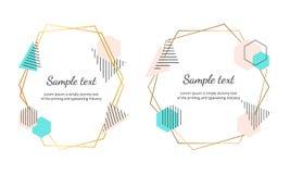 Strutture poligonali con le forme geometriche I modelli moderni di progettazione dell'insegna per nozze, invito, conservano la da illustrazione di stock