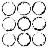 Strutture rotonde dell'inchiostro di vettore Etichetta del cerchio per l'immagine Confini neri di lerciume, isolati sui precedent illustrazione vettoriale