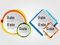 Strutture rotonde di progettazione per le insegne o Infographics di opzioni Immagini Stock