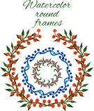 Strutture rotonde floreali dell'acquerello di vettore Fotografia Stock