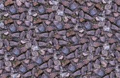 Strutturi di pietra lisciano la parete marrone grigia brillante di superficie dell'elemento Immagini Stock Libere da Diritti