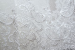 Strutturi il vestito da sposa, il panno bianco, fondo di nozze tessuto Immagini Stock Libere da Diritti