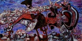 Strutturi la pittura a olio, l'autore Roman Nogin di verniciatura, una serie di jazz del ` ` immagini stock libere da diritti
