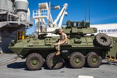 Stryker military vehicle. On display at Seattle Seafair on the deck of the USS Boxer Royalty Free Stock Images