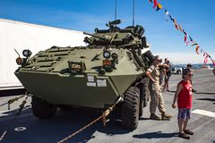 Stryker military vehicle. On display at Seattle Seafair on the deck of the USS Boxer Stock Photo
