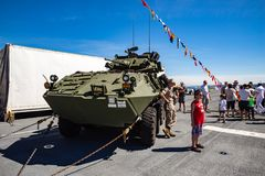 Stryker military vehicle. On display at Seattle Seafair on the deck of the USS Boxer Stock Photos