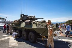 Stryker military vehicle. On display at Seattle Seafair on the deck of the USS Boxer Stock Images