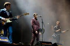 Strypes蓝色岩石带在音乐会执行在节日de les Arts 免版税图库摄影