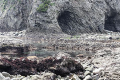 Strzępiasta kamień plaża z skałami i Zawala się Obrazy Stock