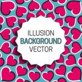 Strzępiasta round rama z cieniem na złudzenia tle poruszający serce wzór ilustracja wektor