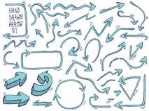 strzała rysująca ręka strzała doodle set również zwrócić corel ilustracji wektora ilustracji
