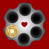 Strzałów pocisków Świątobliwa walentynka odizolowywająca na białym tle Kaliber broń pocisków ikony mieszkanie Kierowa ostrzał szp ilustracji