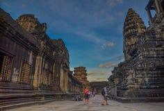 Strzał Angkor Wat kompleks w Siem Przeprowadza żniwa, Kambodża Fotografia Stock
