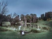 Strzał Lambro Park jezioro w Mediolan w jesieni zdjęcie stock