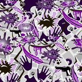 Strzał, pocisk, ręka, pistolet i literowanie na purpurach, bezszwowy tło obraz royalty free