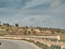 Strzał wiejski krajobraz w słonecznym dniu fotografia stock