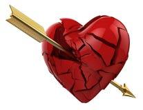 Strzała łamał serce miłość Obrazy Stock