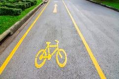 strzała bicycle ścieżki znaka kolor żółty Zdjęcia Royalty Free