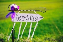 Strzała przylepiający etykietkę ślub Obraz Royalty Free