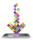 strzała robić apps spadać w displ Fotografia Stock