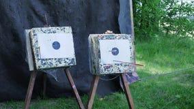Strzała uderza cel klamerka Łęk strzała uderza bullseye cel przy łuczniczym łękiem zdjęcie wideo