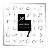 30 strzała wektoru ręka rysująca sztuka Strzałkowata ikona odizolowywająca Round, wyginający się, okręgu nakreślenia wektoru strz Fotografia Royalty Free